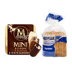 Wall's Magnum Mini Classic, Almond, White Almond 45ml dan Sari Roti Tawar