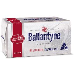 Ballantyne Unsalted Pure Creamery Foil Wrapped Unsalted Butter 250G