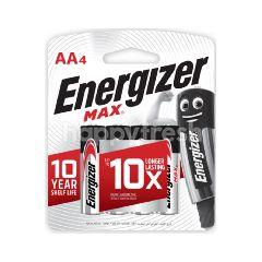 Energizer Max AA 1.5V Alkaline Batteries 4 Pack