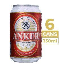 Anker Bir Pilsener 330ml (Kaleng) 6-Pack