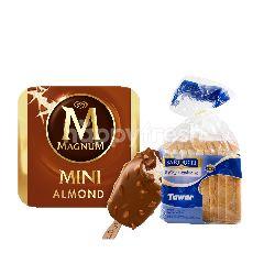 Wall's Magnum Mini Almond Es Krim 45ml dan Sari Roti Tawar