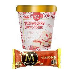 Wall's Selection Strawberry Cheesecake Ice Cream and Magnum Almond Ice Cream