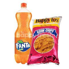 Fanta Rasa Jeruk 1.5L dan Happy Tos Keripik Tortilla