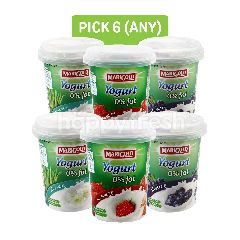 Marigold 0% Fat Strawberry Yogurt, Blueberry Fruit Flavour Yogurt and Yogurt 0% Fat Aloe Vera (Pick Any 6)