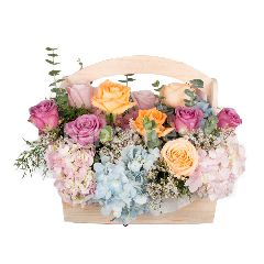 Heartis Flower Basket Of Mixed Flowers In Colorful