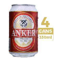 Anker Bir Pilsener 330ml (Kaleng) 4-Pack