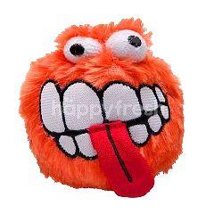 Rogz Fluff Grinz Plush Toy Ball (Orange) (Small)