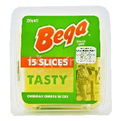 Bega Tasty Natural Cheddar Slices Cheese (15 Pieces)