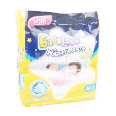 เบบี้เลิฟ ผ้าอ้อมเด็กสำเร็จรูป สำหรับกลางคืน ไซส์ M (52 ชิ้น)