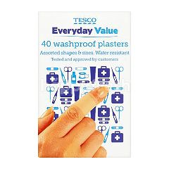 Tesco Everyday Value Washproof Plasters (40 Pieces)