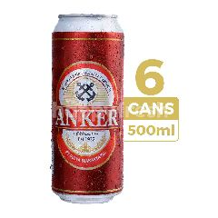 Anker Bir Pilsener 500ml (Kaleng) 6-Pack