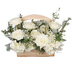 Heartis Flower Basket Of Mixed Flowers In White