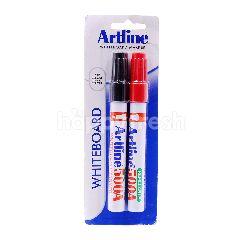 Artline Red & Black Whiteboard Marker (2 Pieces)
