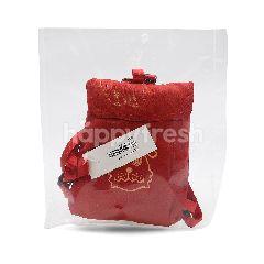 Red Raincoat In Bag Pack