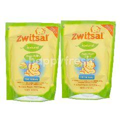 Zwitsal Sabun Mandi Bayi Natural 2-in-1 Rambut & Badan Pouch  Twin-pack