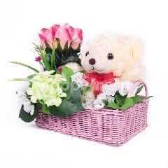 Citra Florist Artificial Basket White Fleur Teddy