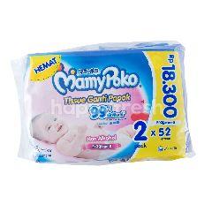 MamyPoko Tissue Ganti Popok Lembut di Kulit, Non Alkohol, Fragrance 99% Air Murni (2 x 52 lembar)