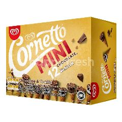 Wall's Cornetto Chocolate And Vanilla Flavoured Mini Ice Cream (12 Sticks)