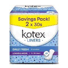 Kotex Longer & Wider Unscented Liners (2 Packsx30S)