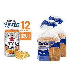 Bintang Radler Orange Bir Kaleng 12 Pack dan Sari Roti White Bread Twinpack