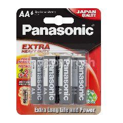 Panasonic Extra Heavy Duty AA 1.5V Zinc Carbon Battery 4pcs + Free 2pcs