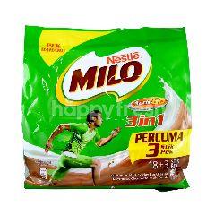 Milo 3 In 1 Chocolate Malt Drink (21x33G)