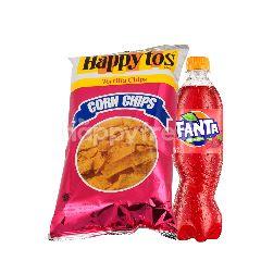 Fanta Rasa Strawberry 390ml dan Happy Tos Keripik Tortilla