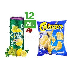 Green Sands Lemon and Grape Carbonated Drinks 12 Pack and Chitato Original Potato Chips