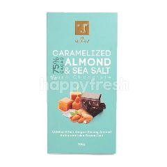 Vel Moriz Cokelat Hitam 75% Kakao dengan Kacang Almond Berkaramel dan Garam Laut